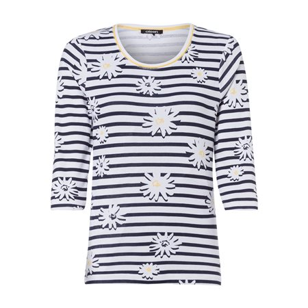 Olsen Stripes And Daisy Print Top Navy  - Click to view a larger image