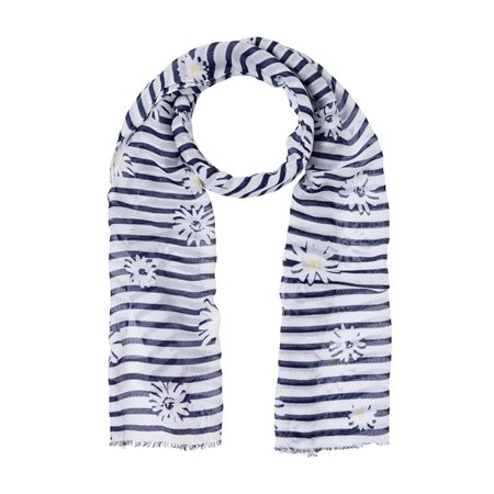 Olsen Daisy And Stripe Scarf Navy  - Click to view a larger image