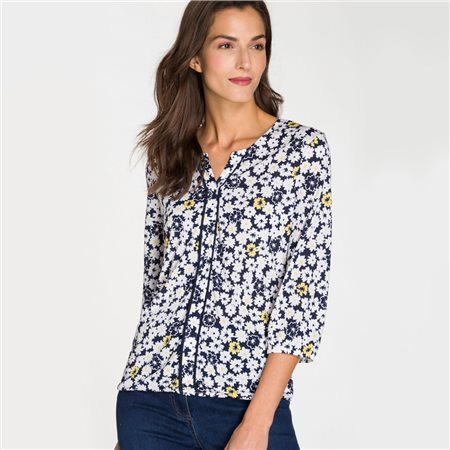 Olsen Daisy Print Elasticated Hem Blouse Navy  - Click to view a larger image