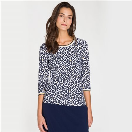 Olsen Dot Print Round Neck Top Navy  - Click to view a larger image
