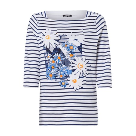Olsen Daisy Placement Print Top Navy  - Click to view a larger image