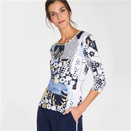 Olsen Multi Dot Design Print Top Navy  - Click to view a larger image