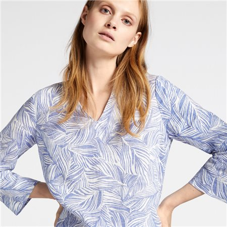 Sandwich Linen Blouse With Organic Print Blue  - Click to view a larger image
