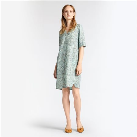 Sandwich Linen Dress With Organic Print Mint  - Click to view a larger image