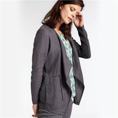 Sandwich Open Linen Jacket Grey  - Click to view a larger image