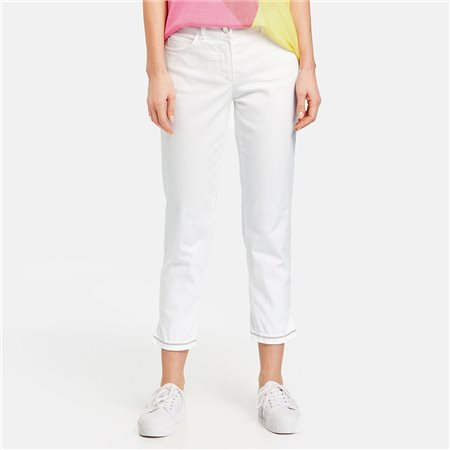 Gerry Weber 7/8 Jean With Decorated Hem Off White  - Click to view a larger image