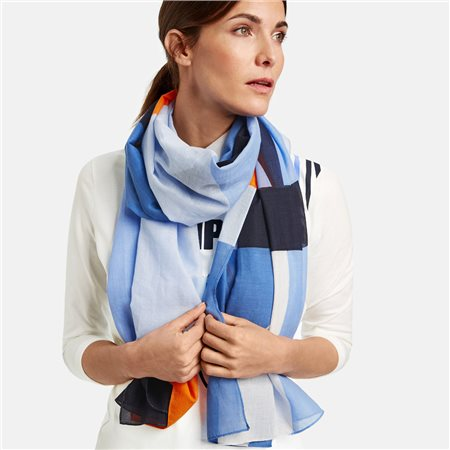 Gerry Weber Cotton Patterned Scarf Blue  - Click to view a larger image