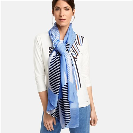 Gerry Weber Striped Scarf Blue  - Click to view a larger image