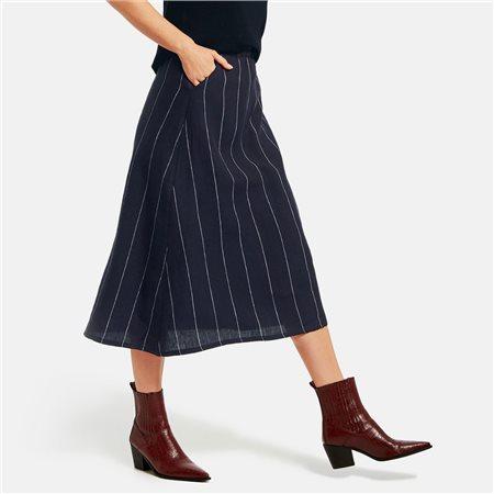 Gerry Weber Linen Stripe Skirt Navy  - Click to view a larger image