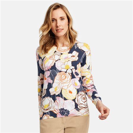 Gerry Weber Floral Cotton Jumper Blue  - Click to view a larger image