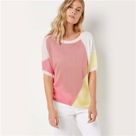 Gerry Weber Colourblock Jumper Pink  - Click to view a larger image