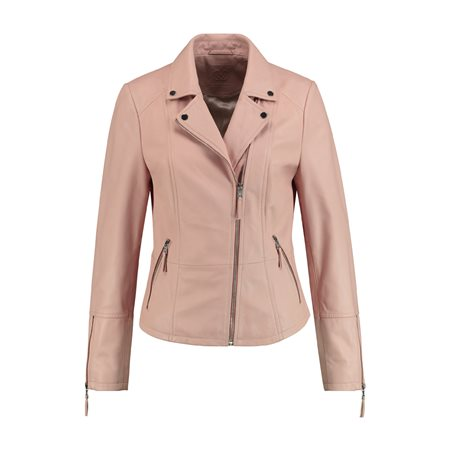 Gerry Weber Leather Biker Jacket Pink  - Click to view a larger image