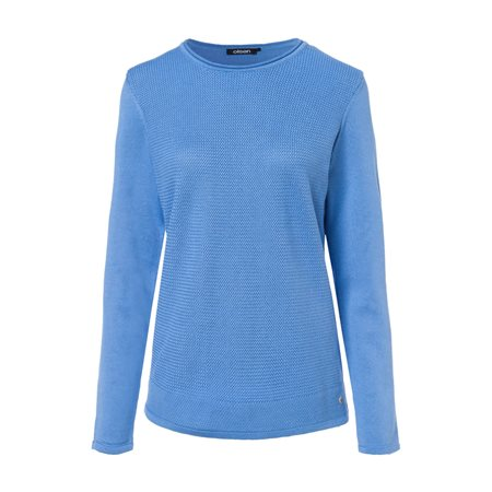 Olsen Knitted Waffle Jumper Blue  - Click to view a larger image