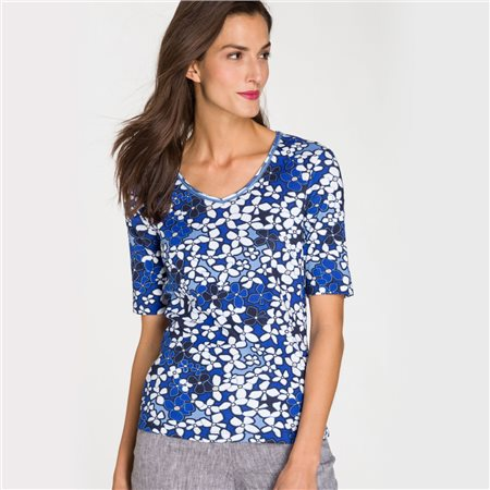 Olsen V Neck Floral Print Top Navy  - Click to view a larger image