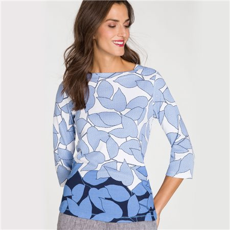 Olsen Large Leaf Print Top Blue  - Click to view a larger image