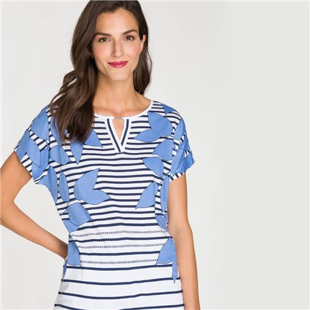 Olsen Stripe And Leaf Print Top Blue  - Click to view a larger image