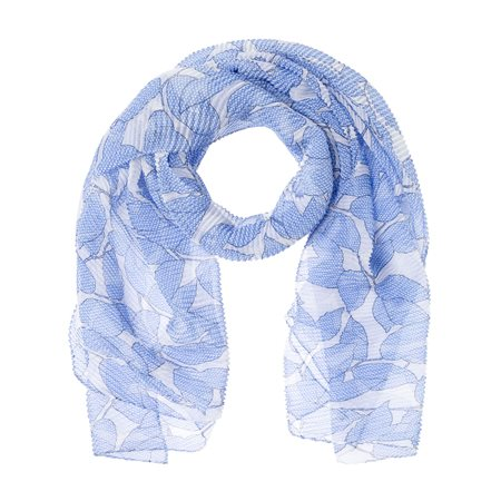 Olsen Leaf Print Scarf Blue  - Click to view a larger image