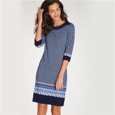Olsen Dot Print Dress Navy  - Click to view a larger image
