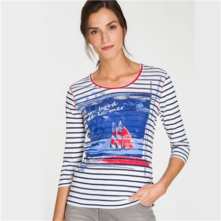 Olsen Nautical Print Top Navy  - Click to view a larger image