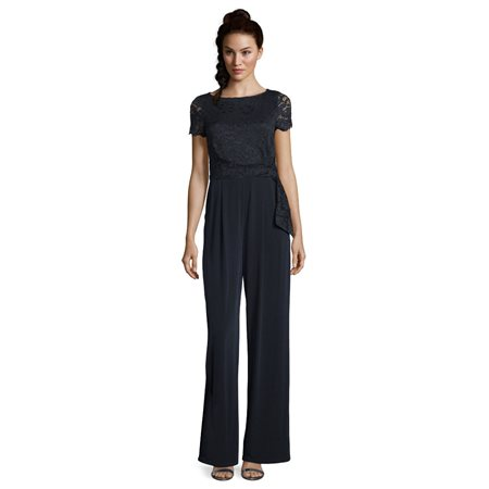 Vera Mont Lace Bodice Jumpsuit Navy  - Click to view a larger image