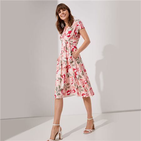 Taifun Floral Print Dress Pink  - Click to view a larger image