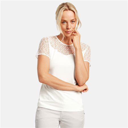 Taifun Lace Trim Top Off White  - Click to view a larger image