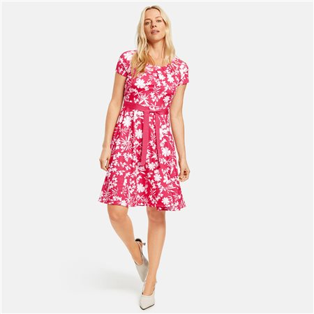 Taifun Floral Print Dress With Tie Belt Pink  - Click to view a larger image