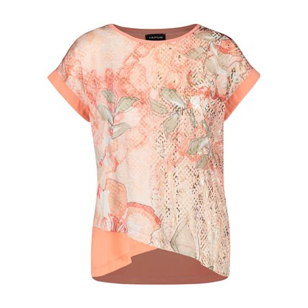 Taifun Chain And Flower Print Top Pink  - Click to view a larger image