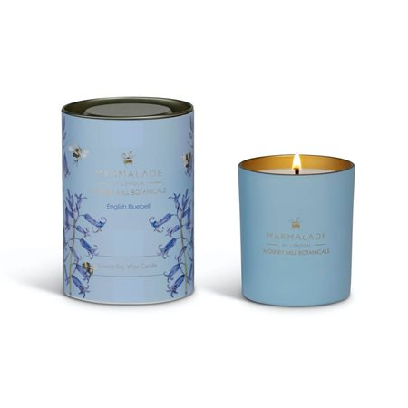 Marmalade Of London English Bluebell Large Glass Candle Blue  - Click to view a larger image