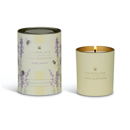 Marmalade Of London English Lavender Large Glass Candle Lemon  - Click to view a larger image