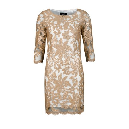 Fee G Cream Dress With Bronze Sequin Overlay  - Click to view a larger image