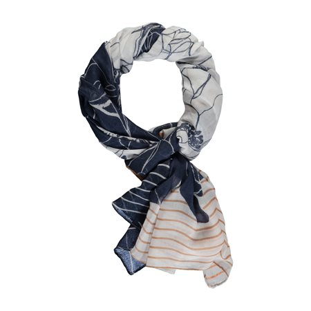 Gerry Weber Flower And Stripe Scarf Blue  - Click to view a larger image