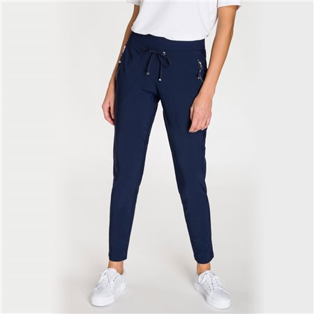 Olsen Casual Trouser With Zips Navy  - Click to view a larger image
