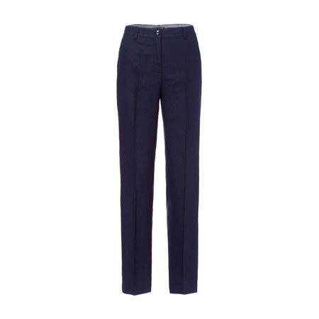 Olsen Mona Straight Linen Trousers Navy  - Click to view a larger image