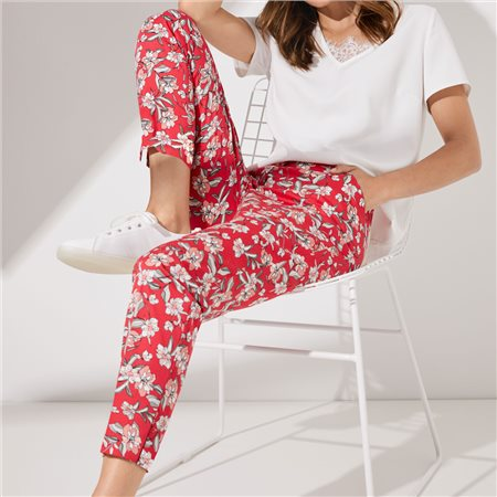 Taifun Floral Print Cropped Trousers Pink  - Click to view a larger image