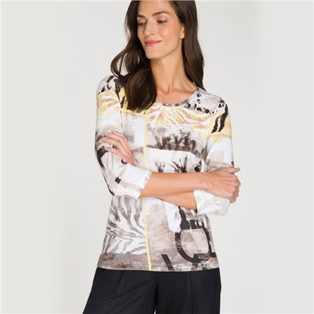 Olsen Multi Print Top Beige  - Click to view a larger image
