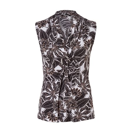 Olsen Sleeveless Leaf Print Top Black  - Click to view a larger image