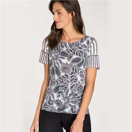 Olsen Top With Leaf Print And Stripe Pattern Black  - Click to view a larger image