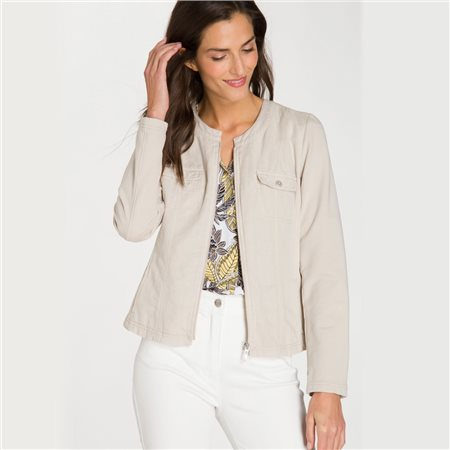 Olsen Zip Up Jacket Beige  - Click to view a larger image