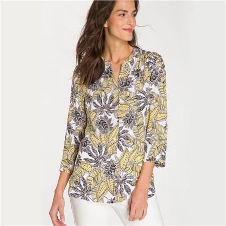 Olsen Leaf And Flower Print Blouse Lemon  - Click to view a larger image
