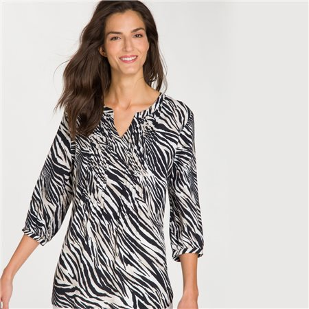 Olsen Zebra Print Blouse Black  - Click to view a larger image