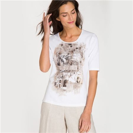 Olsen Top With Placement Print And Decorative Stones White  - Click to view a larger image