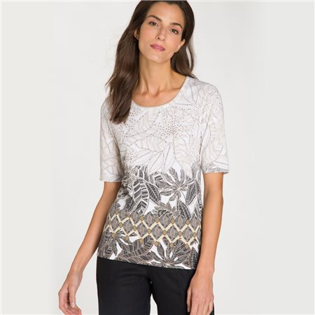 Olsen Leaf Print Top With Studs Beige  - Click to view a larger image