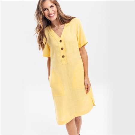 Olsen Linen Dress With Pockets Lemon  - Click to view a larger image