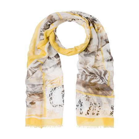 Olsen Leaf Print Scarf Beige  - Click to view a larger image