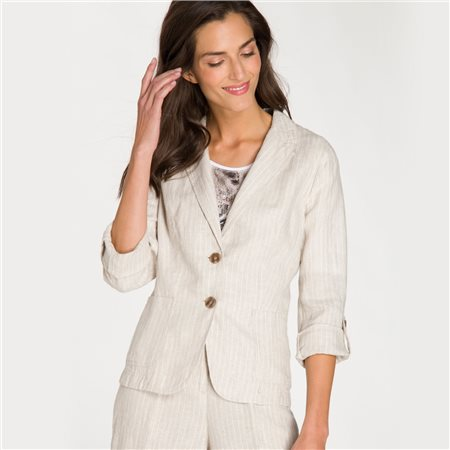 Olsen Linen Jacket With Turn Up Sleeves Beige  - Click to view a larger image