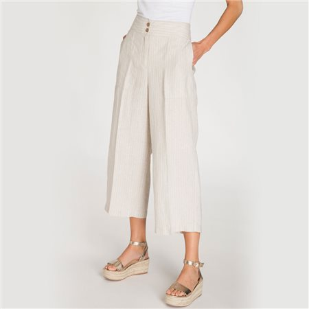 Olsen Wide Leg 'Anna' Linen Trousers Beige  - Click to view a larger image