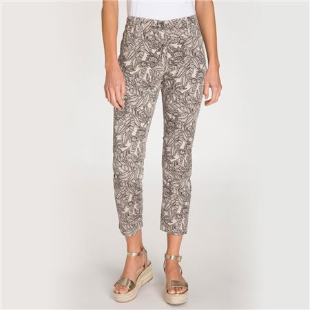 Olsen Mona Slimtrousers With All Over Leaf Print Beige  - Click to view a larger image