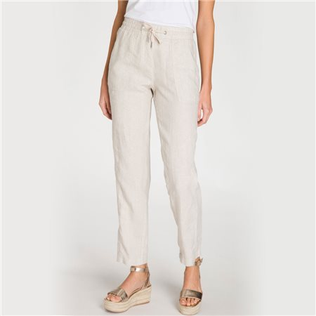 Olsen Lisa Linen Trousers With Tie Front Beige  - Click to view a larger image