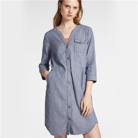Sandwich Denim Shirt Dress With Piping Blue  - Click to view a larger image